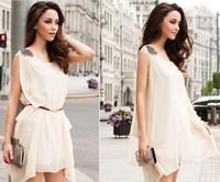 2014 summer dress,High quality chiffon dress,Sleeveless dress, Euro style dress,Free belt
