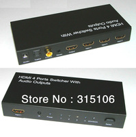 Free Shipping  HDMI 4x1 HIFI Switch Separate Toslink Coaxial Stereo Audio V1.3b