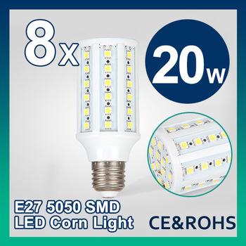 Free Shipping E27 8pcs/lot 20W AC 85-265V Warm White/Cool White 132 LEDs SMD Led bulb Corn Light Bulb Energy Saving Led Lamp
