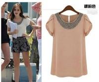 High quality Free shipping Plus size women chiffon short sleeve shirts beading neck t shirt