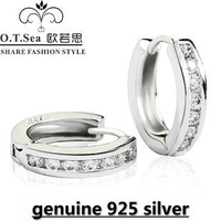 wholesale 100% pure 925 sterling silver platinum earrings fine jewelry GE046