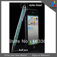 50pcs/lot Shinny Fashionble 2 in 1 ball pen & Capacitive Touch pen for iphone,ipad,galaxy tab,filled in cystal tablet stylus pen