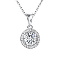 2013 new simulation Grace Cho stone top 0.8 ct Sterling Silver Micro Pave Pendant