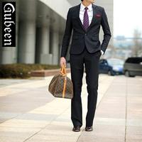 Male suits slim married suit set formal black