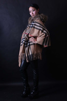 2013 Women  fashion  classic plaid cashmere large cape cloak