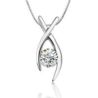 Zhuo Shi genuine simple graceful curve of 0.4 ct sona gemstone pendant necklace pendant sterling silver top Fangzuan