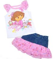 2013 new arrival!! Free shipping 4 sets/ lot the explorer Dora kid summer suits cartoon white shirt + denim jean patchwork skirt