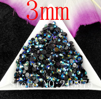 Free shipping 10000pcs Dark Blue Magic color AB jelly 3mm resin rhinestones Nail Art Mobile phone stick drill SS12