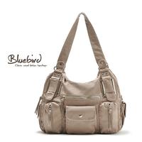 Cattle bluebird fashion women's soft leather shoulder bag handbag water washed leather messenger bag
