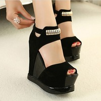 Wedges sandals 2013 sandals color block platform shoes decoration platform ultra wedges high heels open toe sandals
