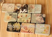 24 pcs Beautiful Flower Rectangular Tin Case, Romance Iron Tea Box, Metal Storage Metal Box Gift Free Shipping
