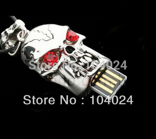4gb 8gb 16gb 32gb metal silver skull head skeleton crystal shape USB 2.0 flash drive memory pen disk Drop ship dropshipping(China (Mainland))