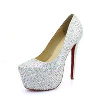 2014 direct selling real high quality red bottom heels crystal rhinestone pump wedding shoe heel diamond pumps 16cm 6cm platform
