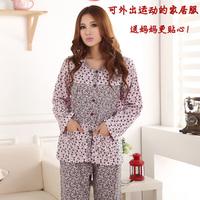 Autumn and winter sleepwear female long-sleeve pure cotton quinquagenarian lounge set plus size plus size floral print cardigan