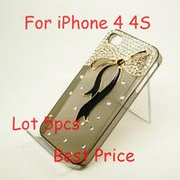 Free Shipping Lot 5pcs New Hot Fashion 3D Black Ribbon Rhinestones Diamond Hard Back Case Cover For Apple iPhone 4 4S