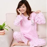 Summer plus size sleepwear female long-sleeve short-sleeve long-sleeve sleepwear lovely nightgown female 100% cotton