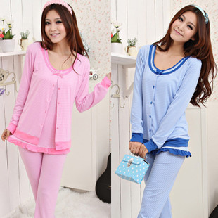Free Shipping 2013 new women's three-piece pajamas home clothes 100% cotton long-sleeved suit