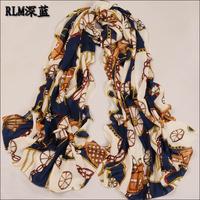 Fashion dark blue  long printed chiffon scarf women's wraps shawl scarves SF-06