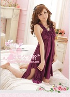 Free Shipping,V-neck sling Sexy Lingerie, Princess the sweet temptation Siamese ice silk pajamas 100% quality guarantee
