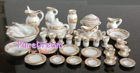 1 12 Dollhouse Miniature Dining Ware Porcelain Tea Set Dish Cup Plate 40pcs