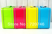 Free shipping large suitcase tin / lunch box / vanity case / jewelry box / storage tin box 4 colors
