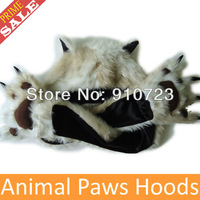 Wholesale Top Quality Beige Leopard Faux Fur Animal Hoods Paw Hats Scarf Gloves Cartoon Caps Zipper Pocket Drop Free Shipping