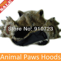 Wholesale  New Style Paws Wild Rabbit Faux Fur Animal Hoods Paw Hats Scarf Gloves Cartoon Caps Zipper Pocket Drop Free Shipping