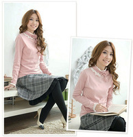 Free Shipping Long-sleeve basic shirt lace collar rose long-sleeve t lycra cotton women's top plus size available