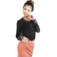 Free Shipping 2013 spring women's collar thin chiffon shirt female long-sleeve free size sunscreen shirt