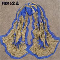 Vintage  blue chiffon long printed  scarf women's wraps shawl scarves SF-08