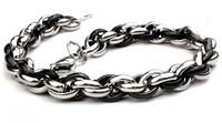 Titanium steel personality polycyclic bracelet gold and black chain bracelet,22cm