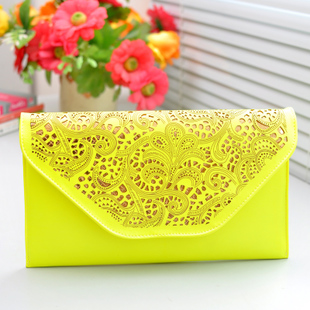 2014 vintage neon color cutout envelope bag candy color day clutch women's handbag messenger bag