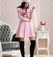Hot sale!! Women Trench Coat Jacket Parka Fashion Slim Fit Gossip Girl Outwear Long V- Neck Ruffle Wool Coat size M, L, XL, XXL