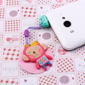 2013 items Free Shipping Mobile phone strap  chain cartoon dust plug screen clean cloth