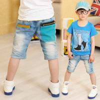 2013 summer children's clothing child tidal current male child vintage large pocket denim knee-length pants capris k1029