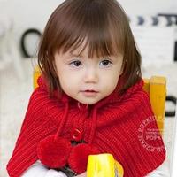 Fashion cape cap baby button spherule cloak child mantissas one piece hat