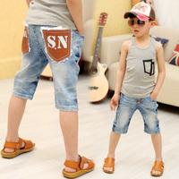 2013 summer children's clothing child male child leather pocket denim knee-length pants capris k1033