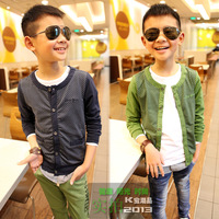 13 spring male child 100% cotton cardigan dot 100% cotton knitted outerwear 13039