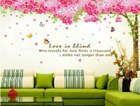 2pcs large Home Sticker Flowering Cherry Blossom Pink Tree sakura flower Mural  Wall Stickers Art Poster Decoration FreeShipping