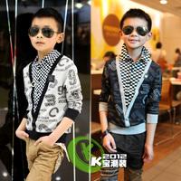 12 autumn male child fancy t-shirt flower fashion letter t handsome plaid t1331