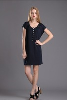 Free shipping 2013 new women summer new simple beauty casual short-sleeved dress was thin