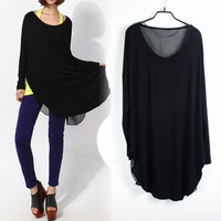Free shipping 2013 new Women Modal Chiffon long section was thin loose long-sleeved T-shirt