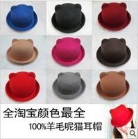Cat ears cap woolen cap women's fedoras autumn and winter dome hat parent-child bear child