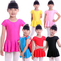 Child dance clothes leotard ballet dance skirt one piece female child short-sleeve