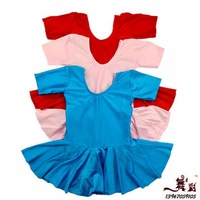 Child dance leotard spandex one-piece dress summer short-sleeve clothing gymnastics clothing callisthenics costume