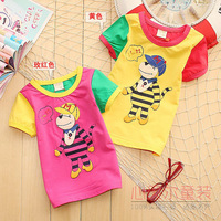100% cotton baby short-sleeve T-shirt summer male female child o-neck sweater thin casual young children undershirt small