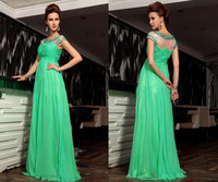Charming Green A-line Formal Evening Dress Cap Sleeves Pleats Beads Rhinestones Long Party Gowns