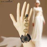Harajuku fashion black lace butterfly indian dance female bracelet finger chain gift