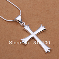 FREE SHIPPING Cool male's Men's Cross pendant necklace 18'' chain new 925 sterling silver n290