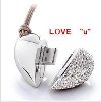 Free Shipping / U disk 16g genuine special Diamond Mini Crystal Heart USB Flash Drive U disk fashion girls gifts/  U028